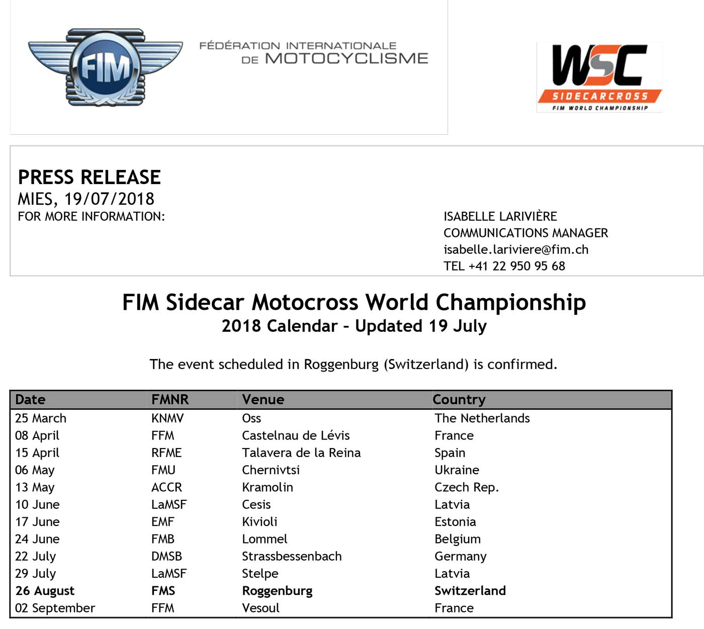 gp sidecarcross in roggenburg ch is now confirmed by the fim